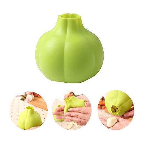 A-myt Es elegante 2 herramientas de cocina originales que ahorran tiempo no suprimen las manos picantes herramientas de ajo y ajo, fácil de usar (color: verde)