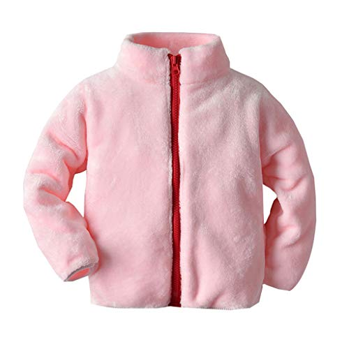 Kids Baby Fleece Jacket Girls Boys Plush Overcoat Toddler Zipper Snow Wear Coat Infant Warm Sweatshirt Outcoat Clothes (Pink, 12-18...
