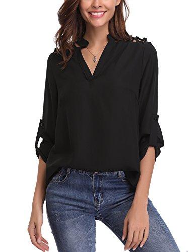 Abollria Elegancka bluzka damska, szyfonowa, z długim rękawem, tunika, lekkie wycięcie w kształcie litery V, odświętne bluzki z regulowanymi rękawami