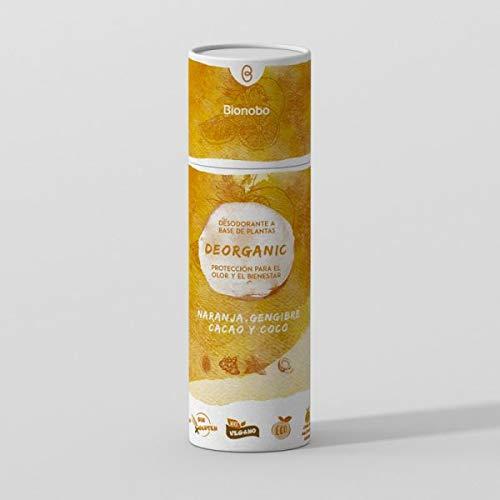 DEORGANIC 60gr | 3 Meses | Desodorante de Naranja, Gengibre, Regaliz, Caolín y Arbol del Té | 100% Natural, Vegano, Biodegradable, Sin Químicos | Sin Aluminio, Plástico ni Parabenos