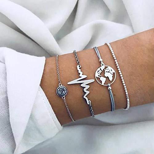 Edary Set di bracciali con mappa Set di bracciali con battito cardiaco in argento Accessori per le mani con strass Catena perline con perline regolabile per donne e ragazze (4Pz)