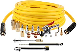Hromee Air Compressor Hose and 19 Pieces Accessories Kit, 3/8 Inch x 25FT Hybrid Hose with Air Blow Gun, 1/4 Inch NPT Quick Connect Fittings, Tire Gauge and Wire Brush