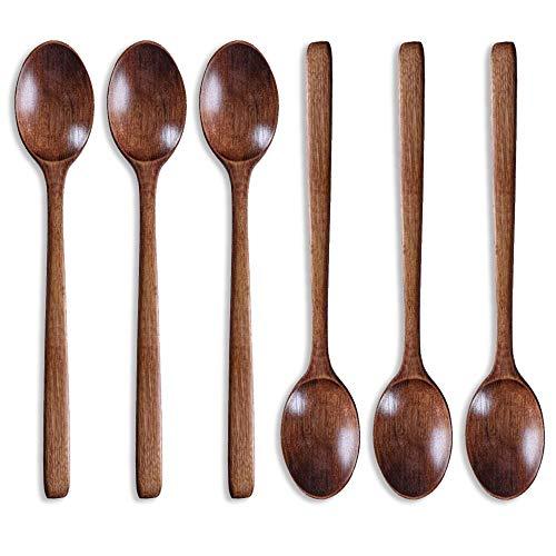 6 Pcs Wooden Spoons for Eating 8 Inch Mixing Spoon Dessert Spoon Demitasse Spoon Wood Teaspoons Stir Coffee Spoon Iced Tea Spoons