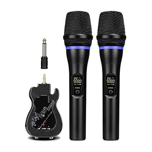 Qiandeng Micrófono de Mano inalámbrico, micrófono dinámico Dual Dual Mini Receptor portátil, micrófono de Karaoke inalámbrico para Iglesia/Inicio/Karaoke/Reunión de Negocios, Negro
