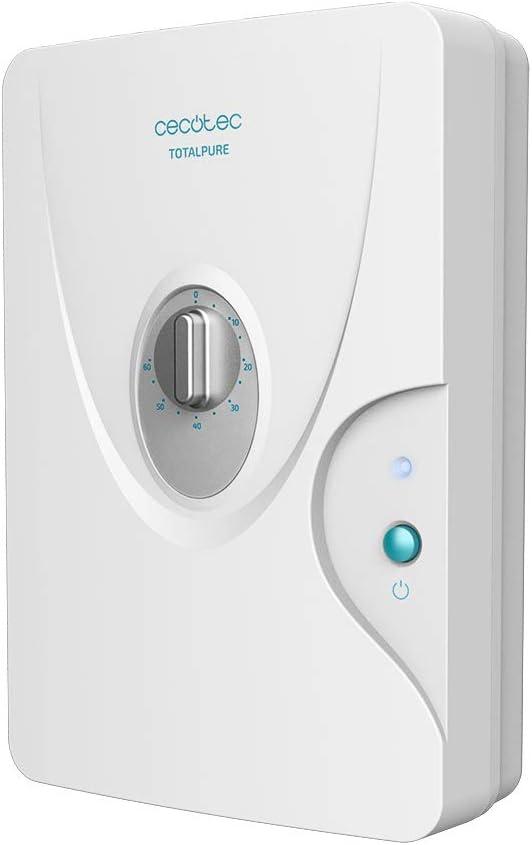 Cecotec Generador de Ozono Doméstico TotalPure 3000 Ozone. 8 W Potencia, Expulsión 600 MG/h, Temporizador hasta 60 min, Incluye 2 Piedras Purificadoras, Luz de Encendido, 25m2