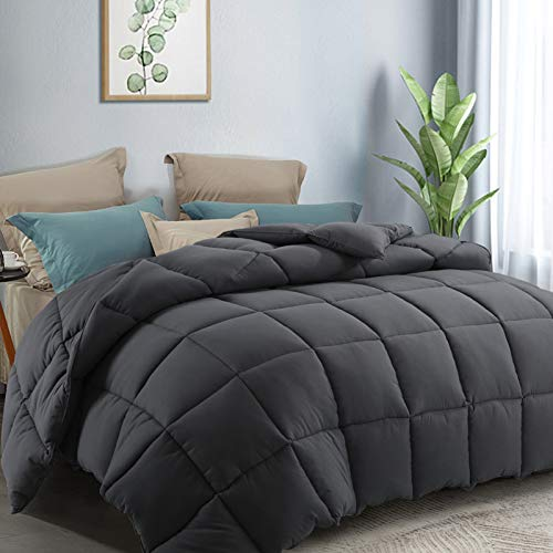 COTTONHOUSE Queen/Full (88x88) Size Cooling Comforter Fluffy Reversible Quilted Duvet Insert Stand-Alone Comforter Down Alternative Fill with Corner Tabs All Season - Machine Washable - Darkgrey