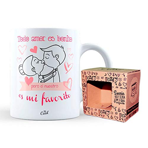 Mr Cool Taza 33 cl en Caja Regalo con Mensaje Todo Amor es Bonito Pero el Nuestro es mi Favorito, Cerámica, 15x10x5 cm