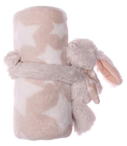 Flauschige Baby Kinder Kuscheldecke mit süßen Stofftieren in verschiedenen Varianten, Kinderdecke, Wolldecke (hasesternbeige)