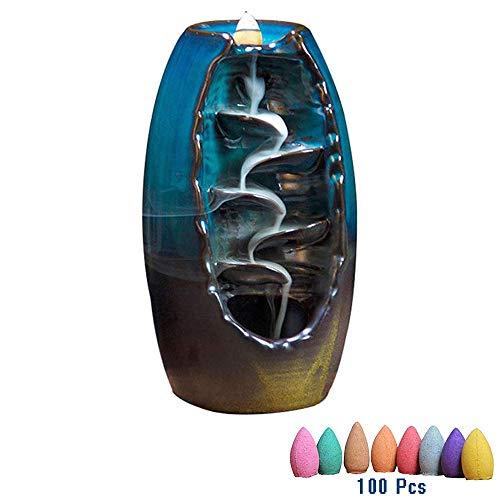 CJCMEET Rückfluss Räuchergefäß Halter Keramik Wasserfall Rauch Räucherstäbchenhalter mit 100PCs Rückfluss Räucherkegel für Wohnzimmer Dekorationen Aromatherapie Diffusoren (Blau)