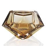 人格ダイヤモンド形状灰皿クリエイティブクリスタルガラス灰皿リビングルームホームデコレーションギフト CB-93 (Brown)