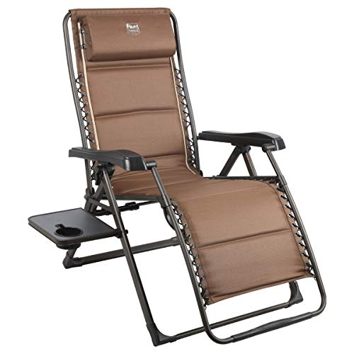 Timber Ridge Banyon Zero Gravity 350 lbs Weight Capacity Reclining Folding Patio Outdoor Lounge Chair