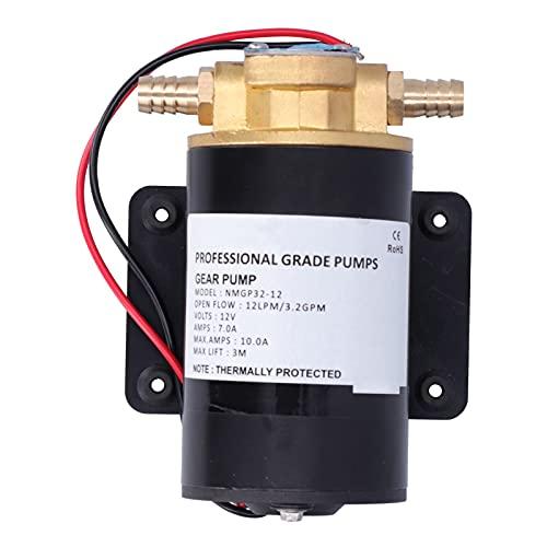 Bomba de engranajes, 12V 12LPM 9,8 pies Bomba de engranajes de impulsor autocebante de elevación para agua/diésel/combustible/barrido/transferencia de aceite