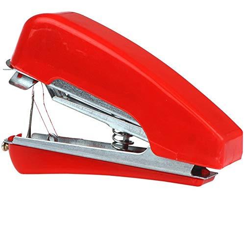 Máquina de coser manual para el hogar -Mini máquina de coser portátil de mano Telas de ropa de mano Puntada Máquina de coser manual de viaje o para el hogar - Rojo