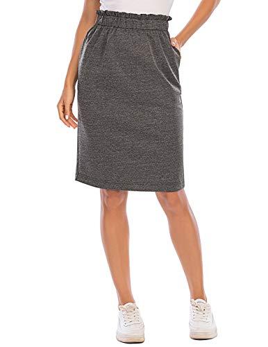 Damen Midi Rock Knielang Business Rock Bleistiftrock mit Taschen Grey M