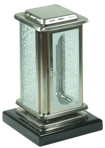 Paul Jansen Grablaterne aus Edelstahlblech mit Granitsockel matt gebürstet/Höhe 26 cm, silber