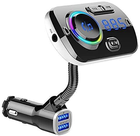 Transmisor FM, Adaptador de Radio FM Inalámbrico para Coche Bluetooth 5.0 Kit de Coche, QC3.0/2.4A Puertos USB Duales 360 ° Rotación Cargador de Coche, Reproductor Mp3 Manos Libres