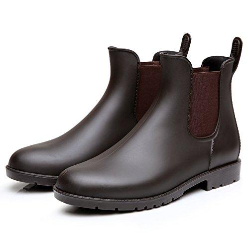 Zkyo Damen Gummistiefel Herren Kurz Regenstiefel mit Blockabsatz Chelsea Boots Rutschfeste Ankle Stiefeletten Braun Größe 38