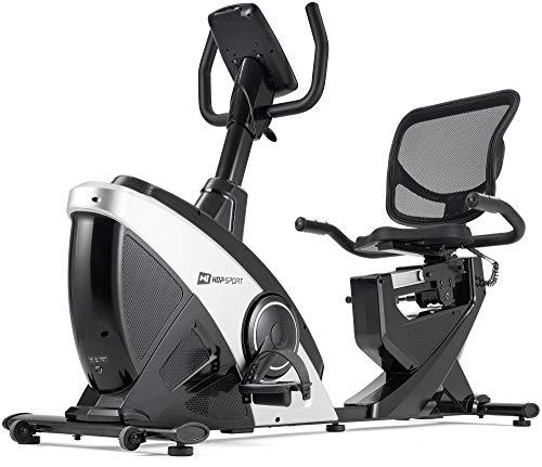 Hop-Sport Liegeergometer HS-070L mit Unterlegmatte - Liegeheimtrainer mit Bluetooth & App-Steuerung, 12 Trainingsprogramme Sitzergometer max. Nutzergewicht 150 kg (Silber/Schwarz)