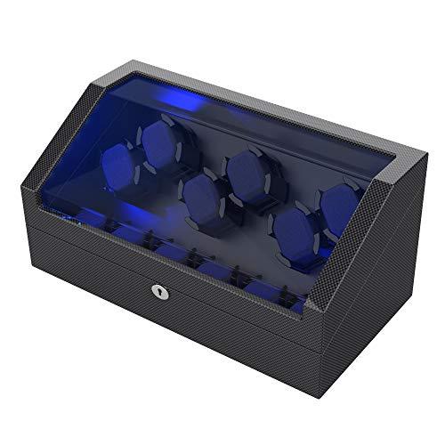 Uhrenbeweger für 12 Automatikuhren, High-End Kohlefasergehäuse in Klavierlackoptik mit Flexiblen Uhrenkissen, LED-Licht, 6 Übergrößen-Kissen (Pine Bark Pattern)