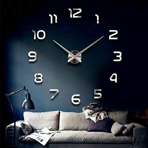Etiqueta de pared universal Mural de decoración de pared Moda 3D Tamaño grande Reloj de pared Etiqueta de espejo DIY Breve Sala de estar Decoración Sala de reuniones Reloj de pared Dibujos animados de