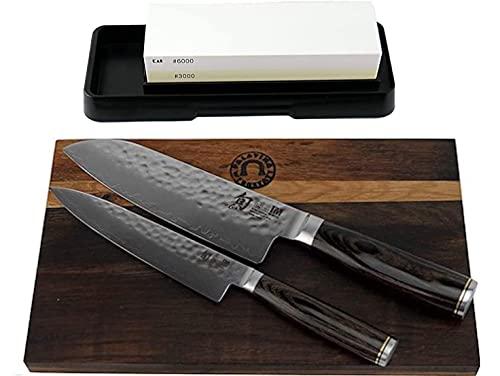 Juego de cuchillos para maltería KAI Shun   Cuchillo Santoku 18 cm TDM-1702   + Navaja TDM-1701   + Tablero de madera barril 30x18 cm + piedra de afilar AP-0316