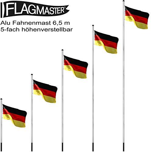 FLAGMASTER® Aluminium Fahnenmast 6,50 m, inkl. Deutschland Fahne + Bodenhülse + Zugseil, 3 Jahre Garantie - 3