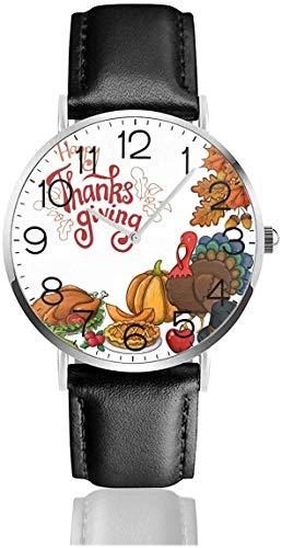 Reloj de pulsera de cuarzo de calabaza de pavo de Acción de Gracias con correa de cuero negro para mujeres, hombres, niños y niñas