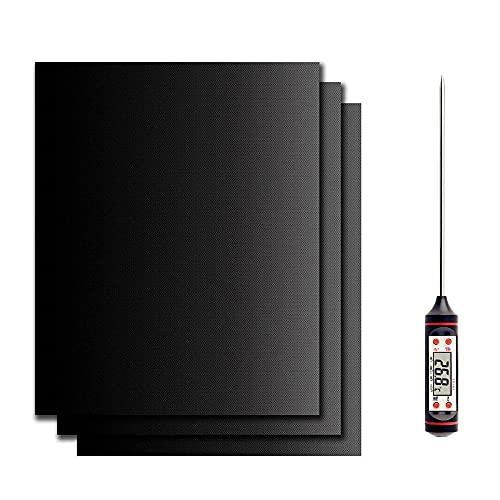 BBQ Grillmatte 50x40 cm XXL 3er Set + Gratis Fleischthermometer Top Chef | Grillmatten für Gasgrill, Holzkohle & Backofen | Teflon Grill Backmatte Antihaft | Grillmatten Wiederverwendbar, PFOA-frei