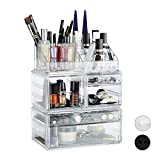 Relaxdays Make Up Organizer mit 21 Fächern, Kosmetik Tower für Lippenstift, Nagellack, Acryl Make Up Box, transparent