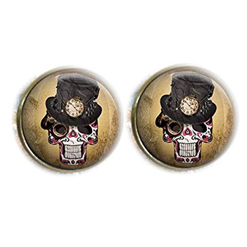 Bloody devil Time Jewelry,Reloj vintage Steampunk Sugar Skull Glass Dome redondo Cabujón Gemelos regalo de amor