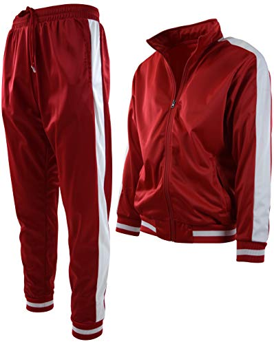 Mens Athletic 2 Piece Tracksuit Set (XL, 877-Red)
