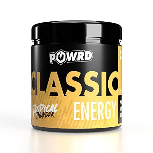 POWRD® CLASSIC ENERGY Tropical Thunder - 320g 40 Portionen - Fruitmix - VEGAN - Gaming Energy & Pre Workout Booster Drink Pulver - für mehr Konzentration beim Gaming, Training, Lernen oder Arbeiten