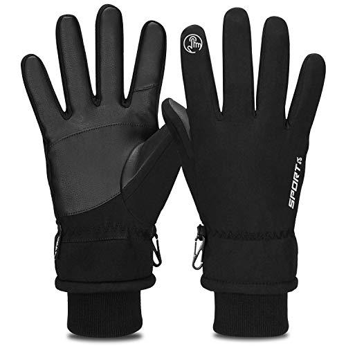 Yobenki Thermo-Handschuhe, Winterhandschuhe für Männer und Frauen, Touchscreen-Handschuhe, warmes und kaltes Wetter, Handschuhe für Radfahren, Autofahren, Laufen, Camping, Wandern S Schwarz
