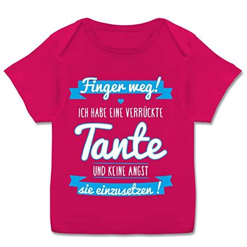 Preisvergleich Produktbild Sprüche Baby - Ich Habe eine verrückte Tante Blau - 80-86 - Fuchsia - Baby Strampler sprüche - E110B - Kurzarm Baby-Shirt für Jungen und Mädchen
