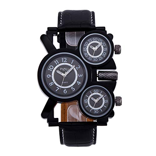 Mens Big Face Unique Military Watch - Three Black Analog Dials, Japan Quartz & Genuine Strap …