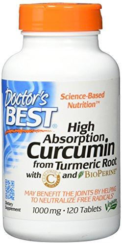 Doctor's Best, High Absorption Curcumin aus Kurkumawurzeln mit schwarzen Pfeffer Extrakt (Bioperine),1000 mg,120 Tabletten | Vegan | Ohne Gentechnik | Glutenfrei | Sojafrei