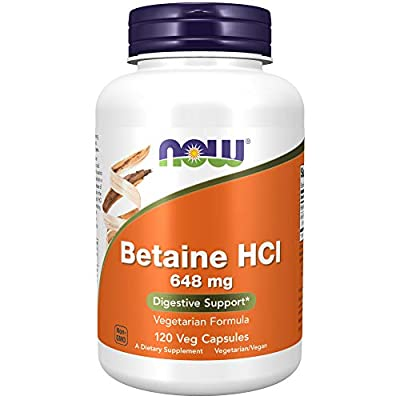 NOW Supplements, Betaine HCl 648 mg, Vegetarian Formula, Digestive Support*, 120 Veg Capsules