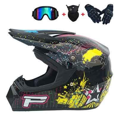 Motocross Helmet, Unisex-Adult Full Face & BMX Helmen Motorcycle Helmet, Kids Offroad Street Dirt Bike ATV Helmet, (Gloves, Goggles, Face Shield) DOT Approved (Black,XL)