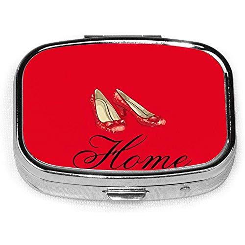 Pillendose - Pillendose mit 2 Fächern, quadratische Pillendose, kann für Geldbörse verwendet werden, Reise-Pillendose Red High Heels