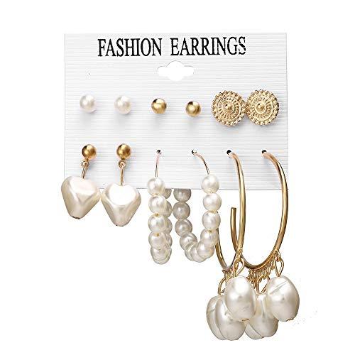 Bloodfin style bohème Boucles D'oreilles de perles,Vintage Rétro Style Boucles d'oreilles Pendantes Classique Crochet d'oreille pour les Femmes Crochet Oreille Accessoires (Multicolore)