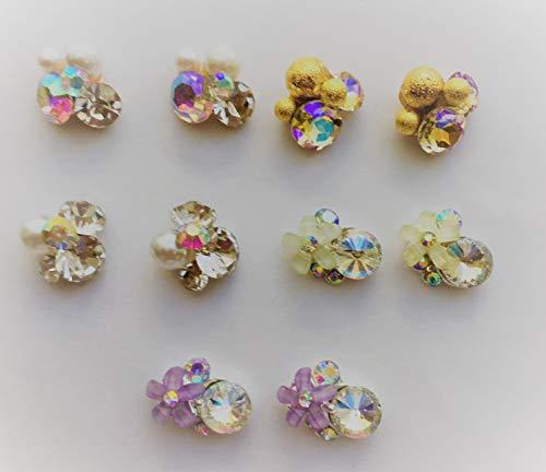 金色 紫 黄緑 小花 5種×2個 10個セット ネイルパーツ 飾り ビジュー アクセサリー イヤリング ピアスパーツ クラフト 手芸 材料 ハンドメイド材料 プラスチックパーツ 樹脂