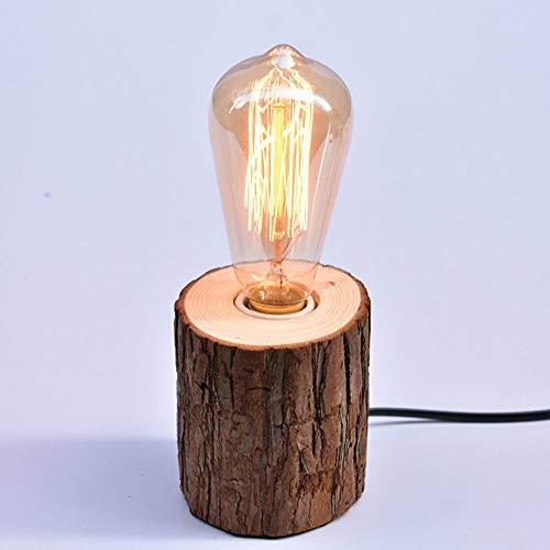ZGYZ Holzstumpf Tischlampe Zylindrische Holz Desktop-Beleuchtung Zubehör Wohnzimmer Kinderzimmer Tischlaterne LED E27 Schreibtischleuchte