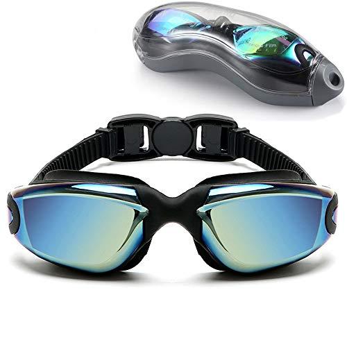 Sosila Gafas de natación antivaho de silicona, gafas de buceo, revestimiento antivaho, protección UV, lentes resistentes al agua, suaves, con funda protectora