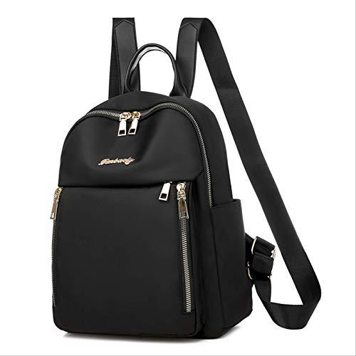 MLXZXQT Oxford Stoff Rucksack Frauentasche Nylon Leinwand Student Schultasche Rucksack Multifunktionale ReisetascheSchwarz.