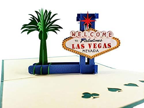 igifts und Karten Las Vegas 3D Pop up Grußkarte–Lucky, Lady Luck, Glücksspiel, Geld–flach zusammenklappbar–Fun, Iconic, besondere Tage, Thank You, Muttertag, Vatertag, nur weil