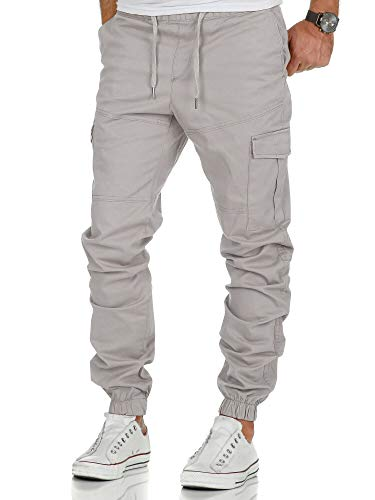 Amaci&Sons Herren Stretch Jogger Cargo Chino Jeans Hose 7006 Hellgrau W34