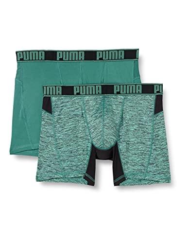 PUMA Herren Puma Active Grizzly Melange Men's (2 Pack) Boxer Shorts, Green Combo, L EU