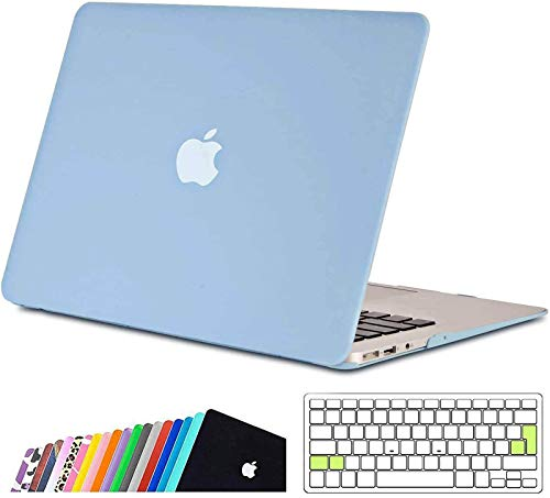 iNeseon MacBook Air 13-inch Case Cover,Ultra Slim Hard Shell Protective Case with Keyboard Cover for 2010-2017 MacBook Air 13 (Model A1466 A1369, Size 32.5 x 22.7cm), Serenity Blue