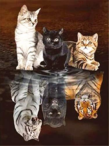 Cuadro de diamantes 5D gato bordado de diamantes animales imágenes de reflejo de diamantes de imitación mosaico decoración del hogar A15 50x60cm