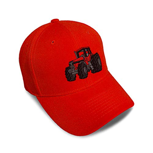 Kids Toddler Baseball Cap Tractor Machine C Embroidery Cotton Boys & Girls Strap Closure Red Adjustable